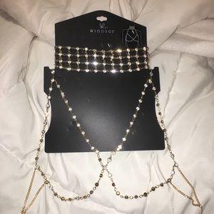 7586afb6ff075 Windsor Jewelry - Gold Rhinestone Bralette Choker Set